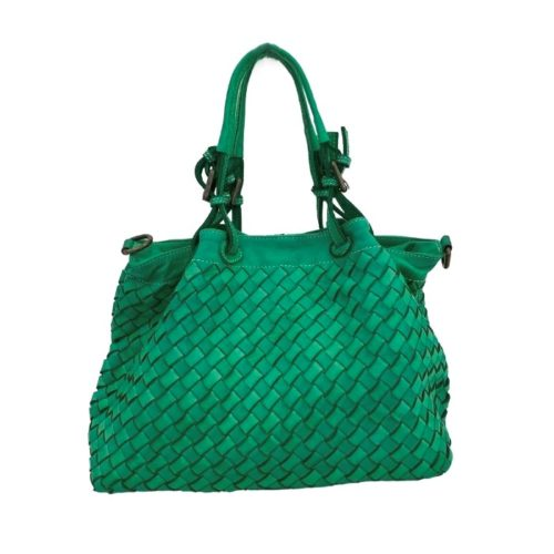 BABY LUCIA Small Tote Bag Large Weave Emerald