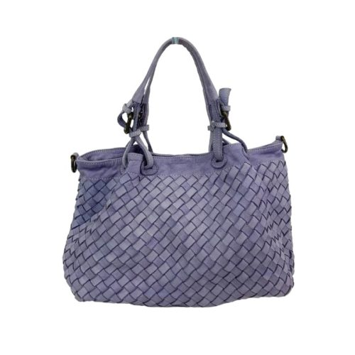 BABY LUCIA Small Tote Bag Large Weave Lilac
