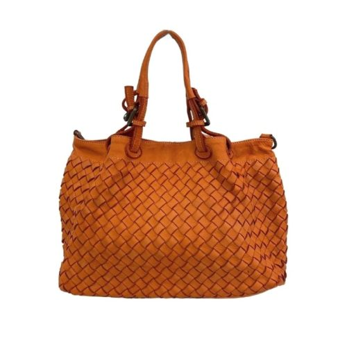 BABY LUCIA Small Tote Bag Large Weave Orange