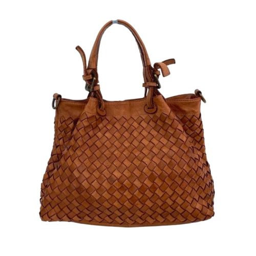 BABY LUCIA Small Tote Bag Large Weave Terracotta