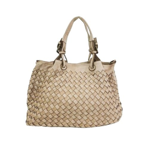 BABY LUCIA Small Tote Bag Large Weave Beige