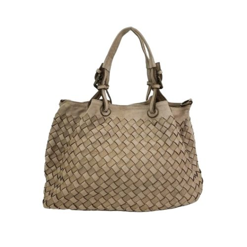 BABY LUCIA Small Tote Bag Large Weave Light Taupe
