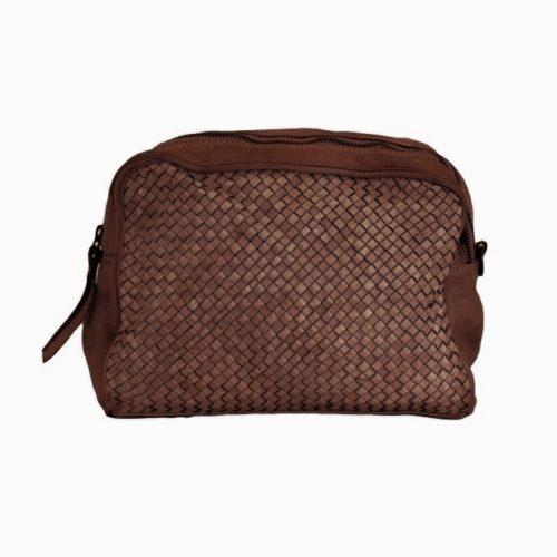 NICOLETTA Woven Crossbody Bag Dark Brown