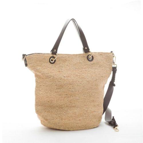 MIRANDA Woven Straw Tote Bag Dark Brown