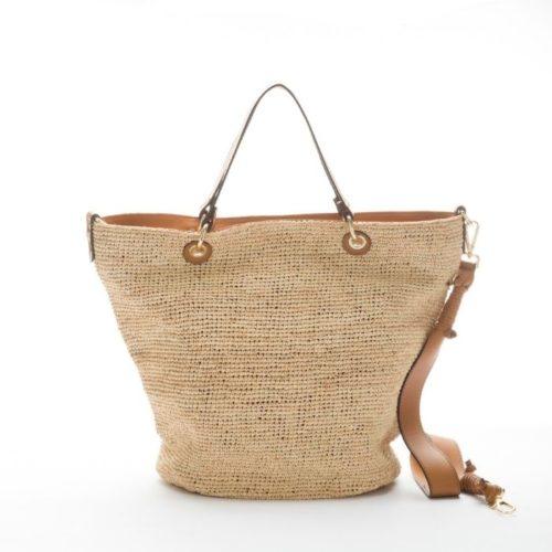 MIRANDA Woven Straw Tote Bag Tan