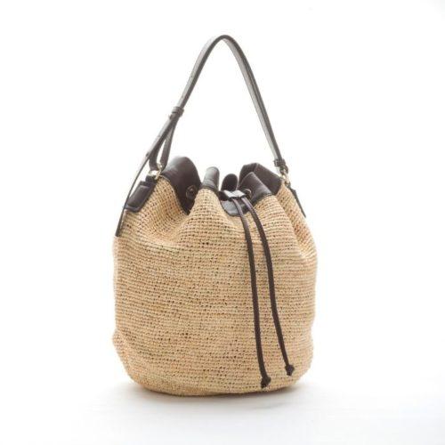 MATILDA Woven Straw Bucket Bag Dark Brown