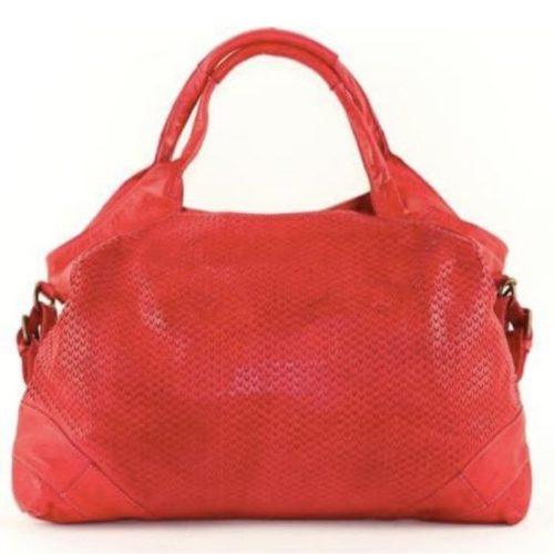 VALENTINA Handbag With V-shaped Laser Cut Pattern Red