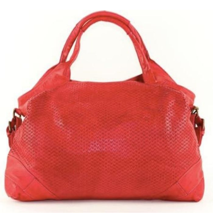 valentina leather bag with laser cut detail red - the leather mob