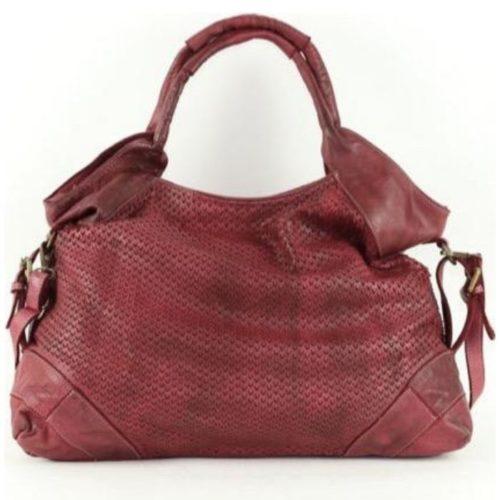 VALENTINA Handbag With V-shaped Laser Cut Pattern Bordeaux