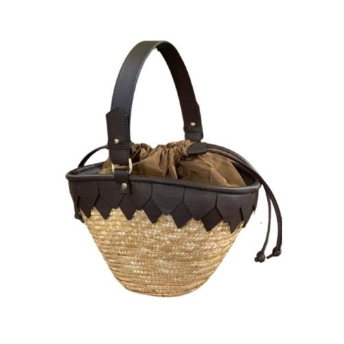 Mykonos Small Woven Straw Basket With Leather Details Dark Brown
