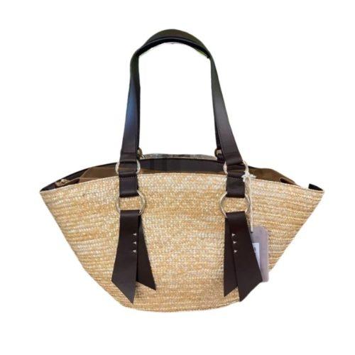 Bali Woven Straw Shoulder Bag Dark Brown