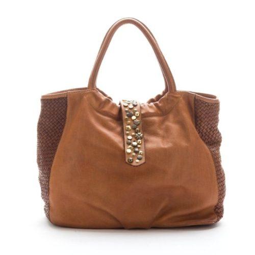 FARFALLA Rock Woven Hand Bag Tan