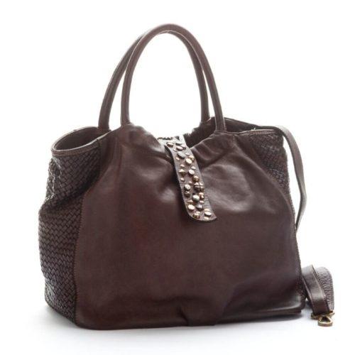 FARFALLA Rock Woven Hand Bag Dark Brown