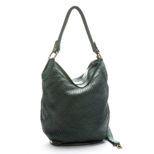 GEMMA Woven Bucket Bag Army Green