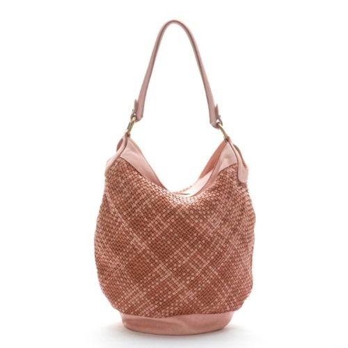 GEMMA Woven Bucket Bag Blush