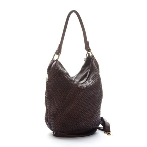GEMMA Woven Bucket Bag Dark Brown