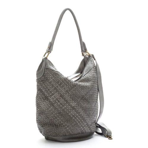 GEMMA Woven Bucket Bag Light Grey