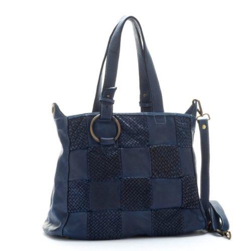 MARINA Chequer Woven Hand Bag Navy