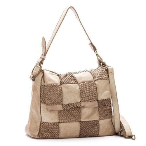 Priscilla Shoulder Bag Woven Chequered Pattern Beige