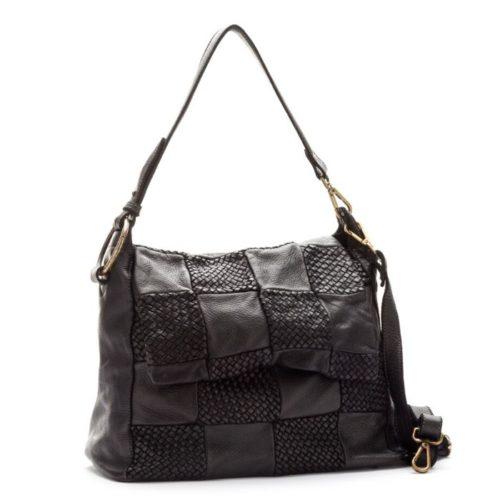 Priscilla Shoulder Bag Woven Chequered Pattern Black