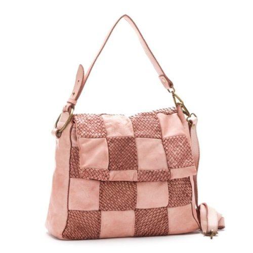 Priscilla Shoulder Bag Woven Chequered Pattern Blush
