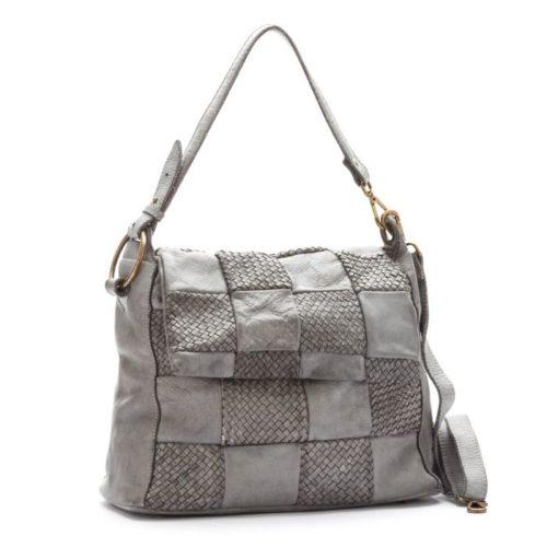 Priscilla Shoulder Bag Woven Chequered Pattern Light Grey