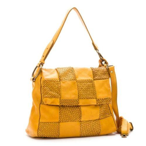 Priscilla Shoulder Bag Woven Chequered Pattern Mustard