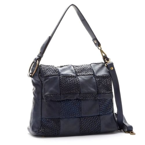 Priscilla Shoulder Bag Woven Chequered Pattern Navy