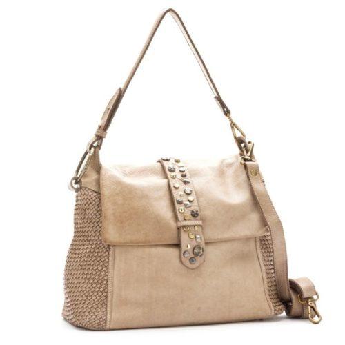 Priscilla Shoulder Bag Narrow Weave And Studded Detail Beige