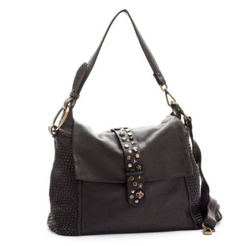 Priscilla Shoulder Bag Narrow Weave And Studded Detail Black