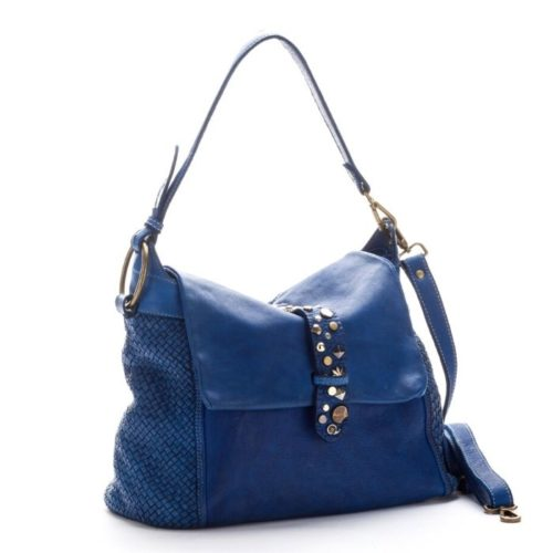 Priscilla Shoulder Bag Narrow Weave And Studded Detail Blue