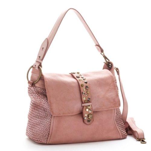 Priscilla Shoulder Bag Narrow Weave And Studded Detail Blush