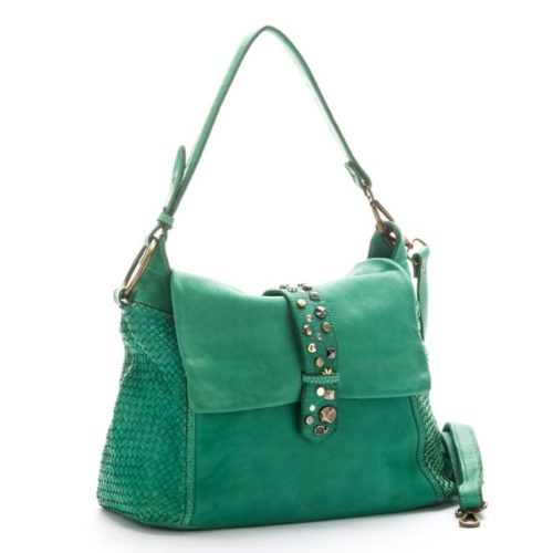 Priscilla Shoulder Bag Narrow Weave And Studded Detail Emerald