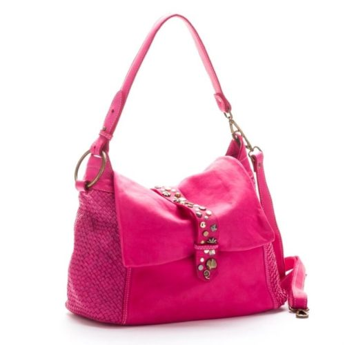 Priscilla Shoulder Bag Narrow Weave And Studded Detail FUCHSIA