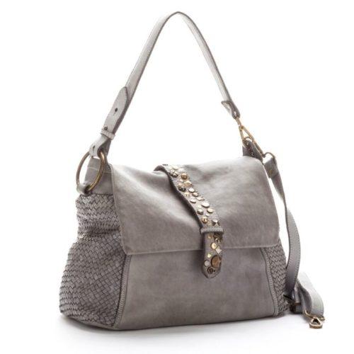 Priscilla Shoulder Bag Narrow Weave And Studded Detail Light Grey