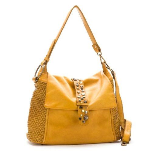 Priscilla Shoulder Bag Narrow Weave And Studded Detail Mustard