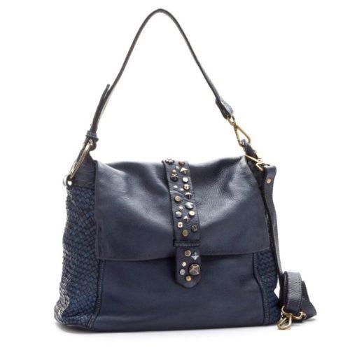Priscilla Shoulder Bag Narrow Weave And Studded Detail Navy