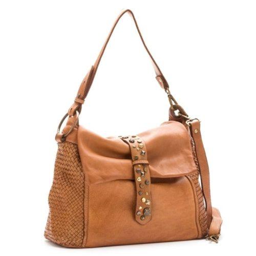 Priscilla Shoulder Bag Narrow Weave And Studded Detail Tan