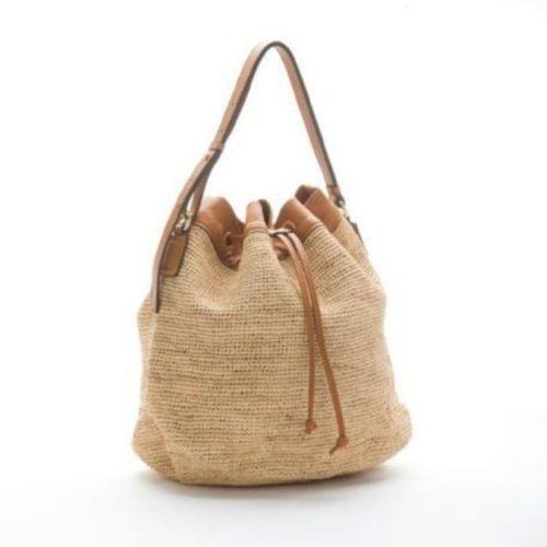 MATILDA Woven Straw Bucket Bag Tan