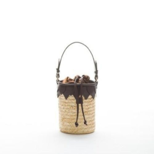 Santorini Small Straw Bucket Bag With Leather Details Dark Brown