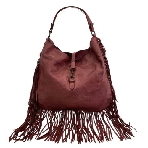 AMBRA Shoulder Bag With Fringes Bordeaux