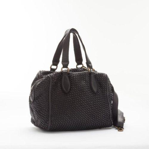 MIRTILLA Woven Bowler Bag Black