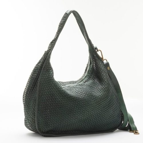 TIFFY Large Woven Shoulder Bag Army Green