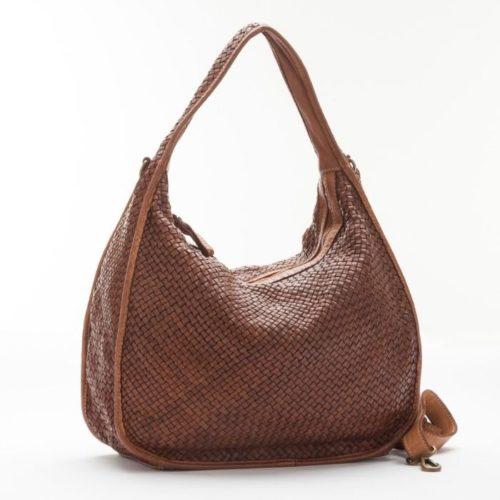 TIFFY Large Woven Shoulder Bag Tan