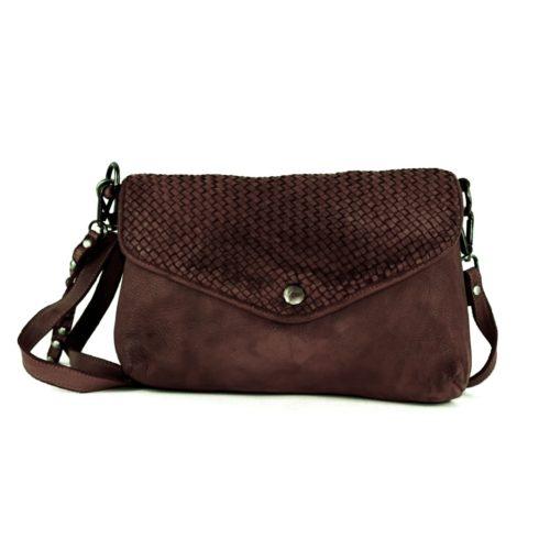 LAVINIA Envelope Clutch Bag Dark Brown