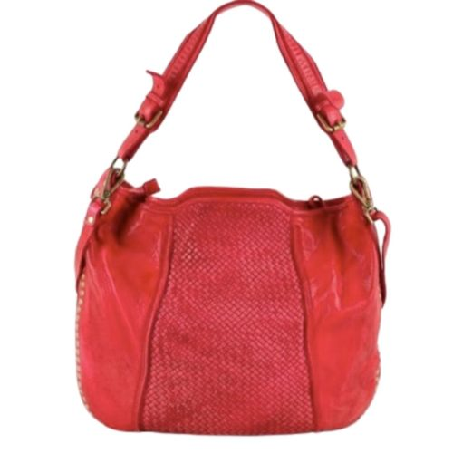 MONICA Shoulder Bag With Woven Panel & Studs – Red