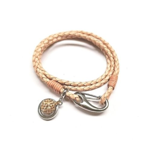 Unique & Co Women's Leather Bracelet With Crystal Ball Charm – Natural