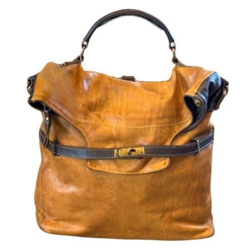 CORINNE Backpack Mustard + Brown Details