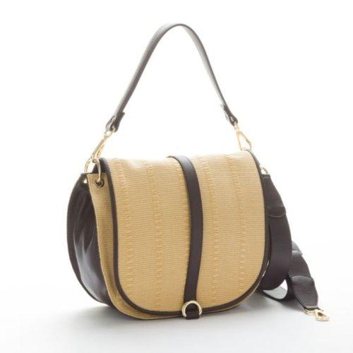 MALIKA Raffia Shoulder Bag With Leather Details Dark Brown