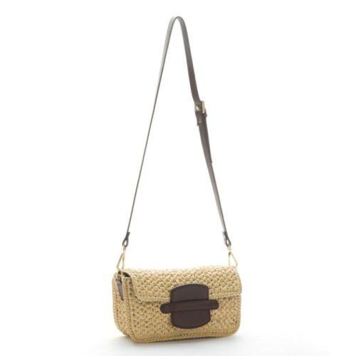 MARZIA Woven Raffia & Leather Clutch Bag Dark Brown